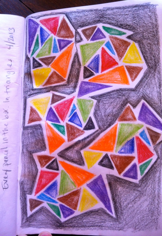 Prismacolor doodling while watching TV.  Fitting triangles together.