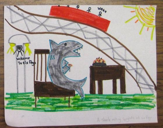 A shark eating spaghetti at Six Flags.