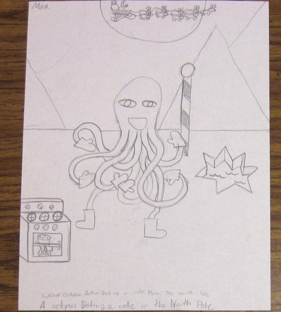 An octopus baking a cake in the North Pole.